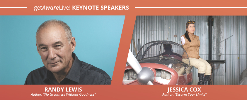 Randy Lewis & Jessica Cox will be keynote speakers at the 2018 getAwareLive! conference