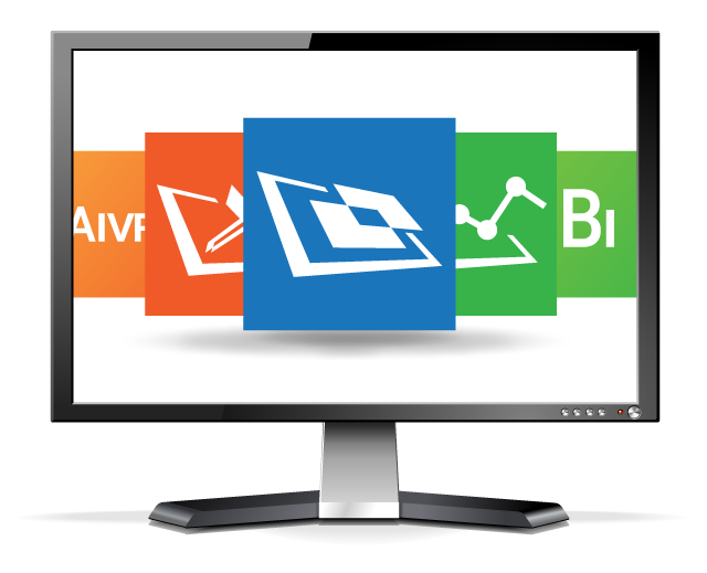 LCD Monitor with Aware products on screen
